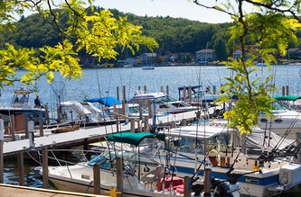 boats docked in Pentwater, Michigan harbor